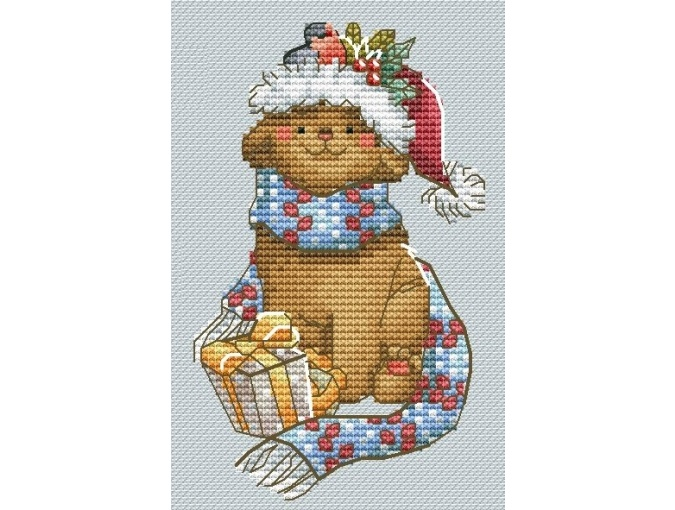 Cat with a Gift Cross Stitch Pattern фото 1