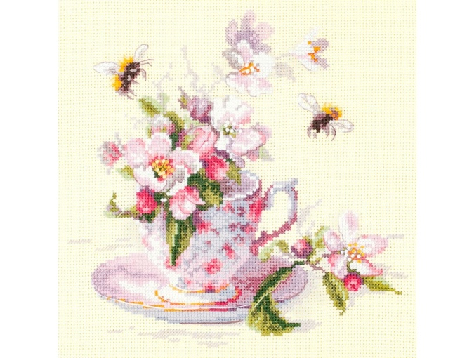 Cup and Apple Blossom Cross Stitch Kit фото 2