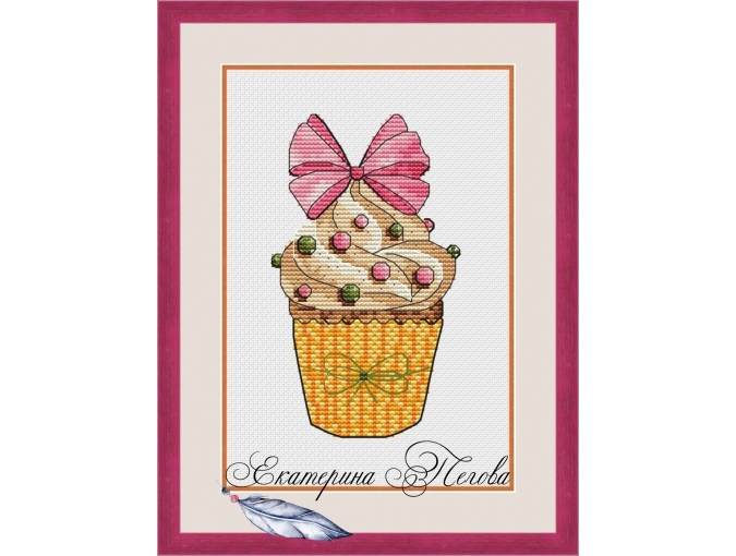 Muffin Bow Cross Stitch Pattern фото 1