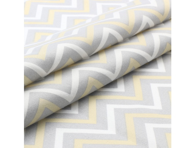 Colored Zig Zags Patchwork Fabric, White/Gray/Yellow фото 2
