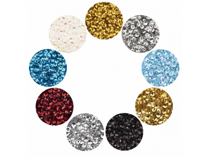 Large Set of Volumetric Faceted Sequins, Bowl, 4mm фото 1