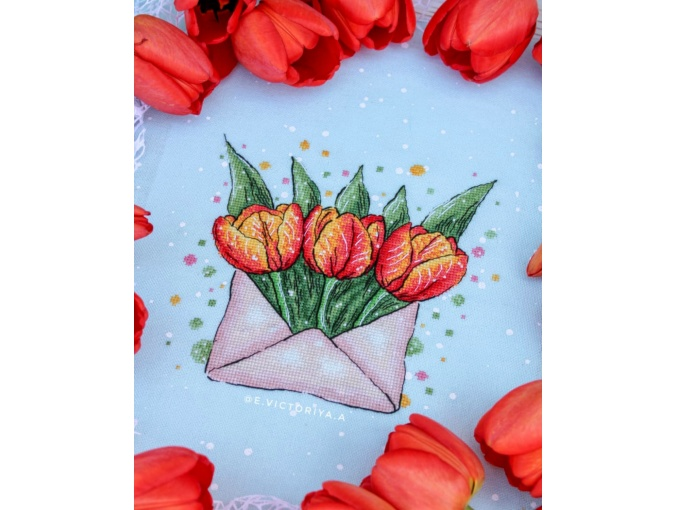 Envelope with Tulips Cross Stitch Pattern фото 2