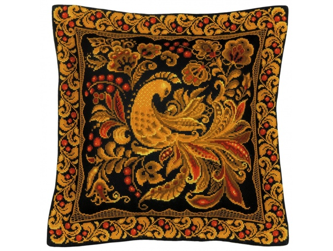Cushion/Panel Khokhloma Painting Cross Stitch Kit фото 1