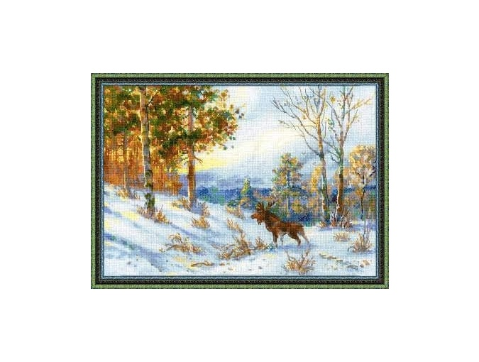 Moose in a Winter Forest Cross Stitch Kit  фото 1