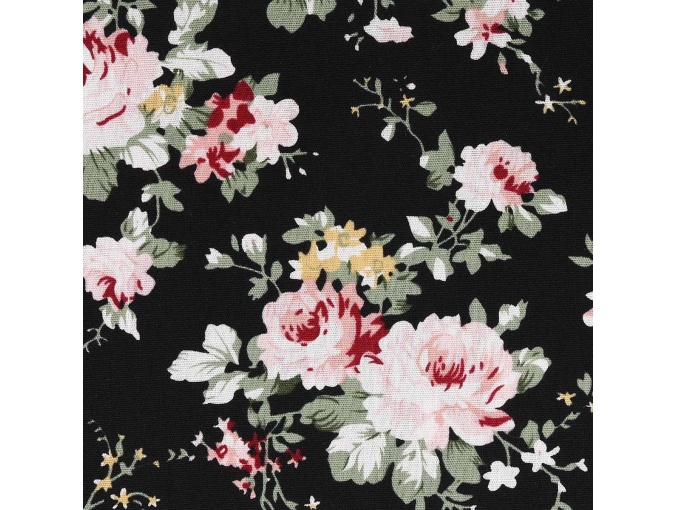 Roses on Black Patchwork Fabric фото 1