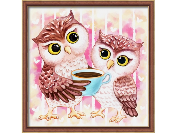 Owls and Cocoa Diamond Painting Kit фото 1