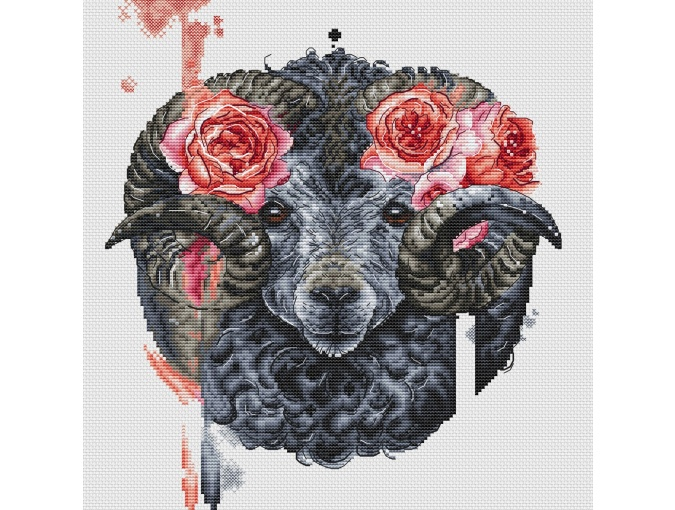 Ram with Roses Cross Stitch Pattern фото 1