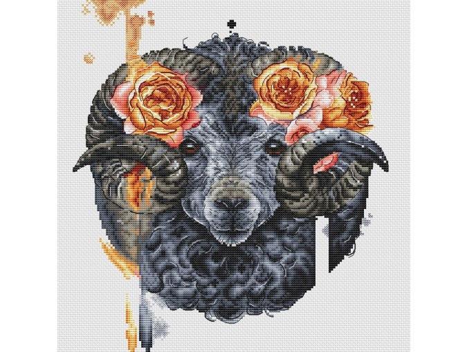Ram with Roses Cross Stitch Pattern фото 3