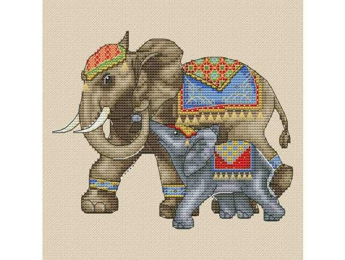 Elephant with Cub Cross Stitch Pattern фото 1