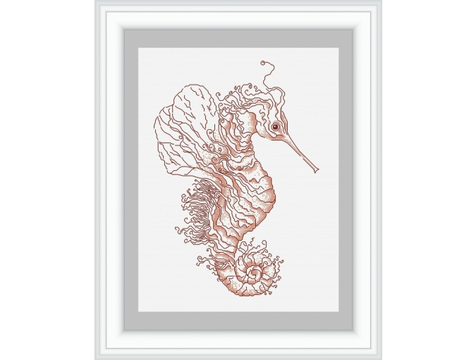 Monochrome Sea Horse Cross Stitch Pattern фото 1