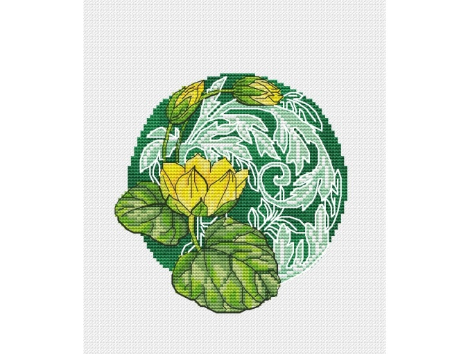 Victorian Water Lily Cross Stitch Pattern фото 1