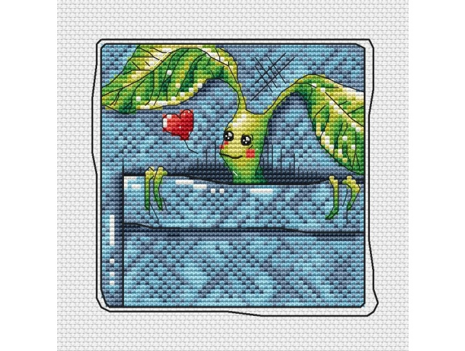 Green Pocket Friend with Background Cross Stitch Pattern фото 1