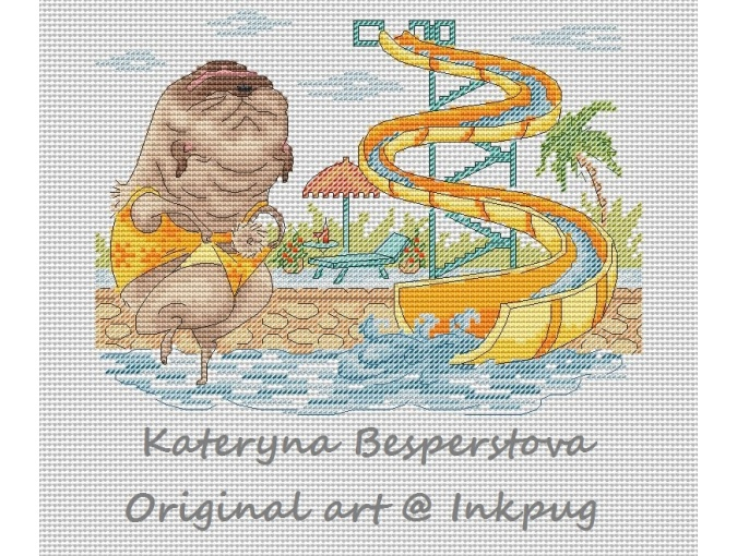 Pug at Aquapark Cross Stitch Pattern фото 1