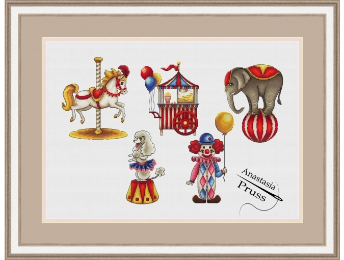 Old Circus Cross Stitch Pattern фото 1