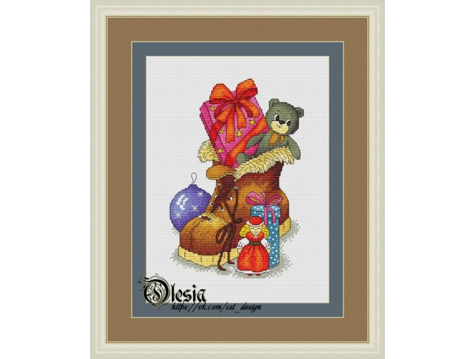 Christmas Boot Cross Stitch Pattern фото 1
