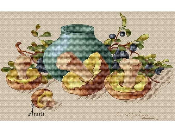 Blueberries and Mushrooms Cross Stitch Pattern фото 2