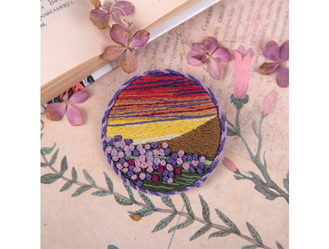 Brooch. Sunset meadow Embroidery Kit фото 1