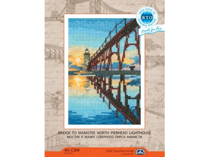 Bridge to Manistee North Pierhead Lighthouse Cross Stitch Kit фото 2