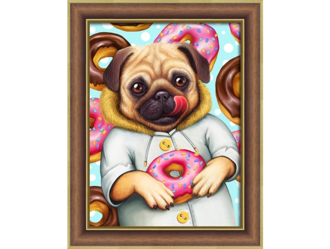 Pug and Donuts Diamond Painting Kit фото 1