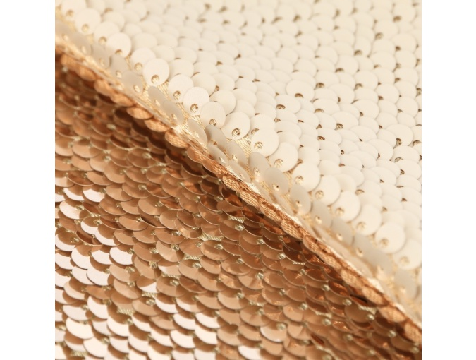Cream/Gold Sequins Patchwork Fabric фото 2