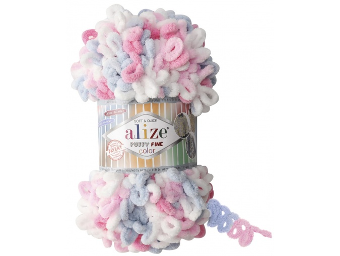 Alize Puffy Fine Color, 100% Micropolyester 5 Skein Value Pack, 500g фото 5