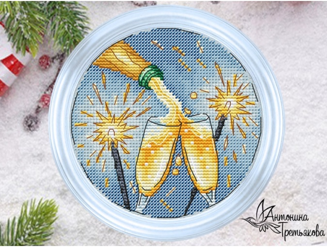 New Year's Symbols. Champagne Cross Stitch Pattern фото 1