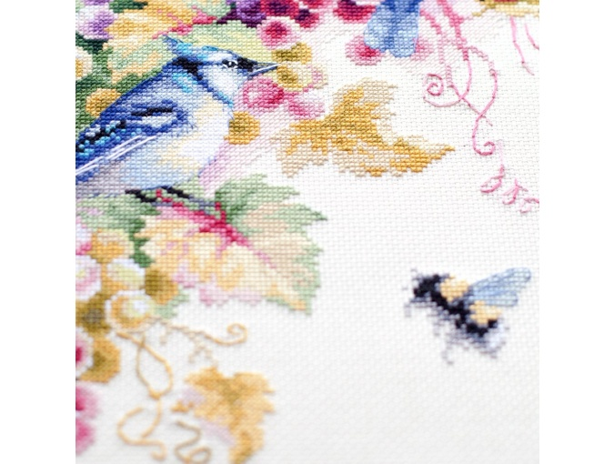 Blue Jay and Grapes Cross Stitch Kit фото 8