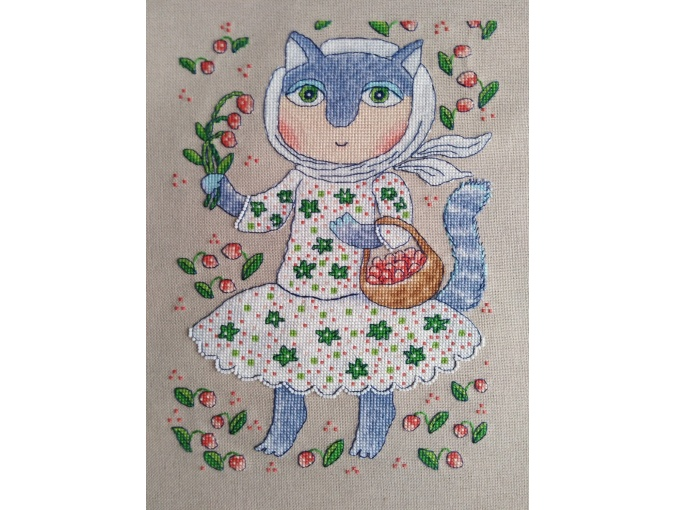 Strawberry Cat Cross Stitch Pattern фото 2