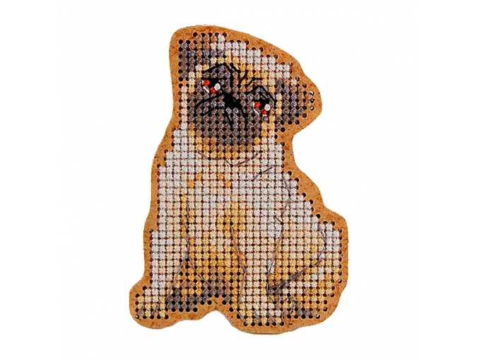 Pug Brooch Cross Stitch Kit фото 1