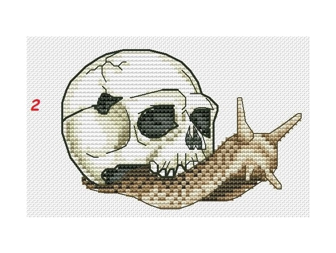 Snail with Skull 2 Cross Stitch Pattern фото 1