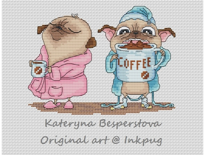 Pugs are Coffee Lovers Cross Stitch Pattern фото 1