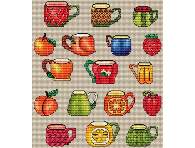 Sampler Cups Cross Stitch Pattern фото 1