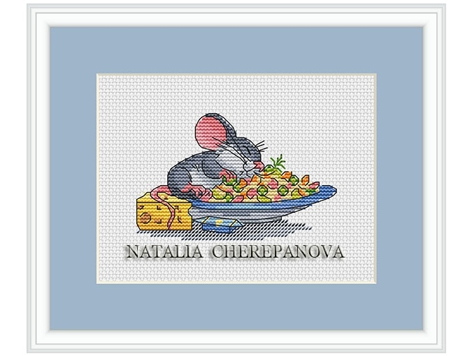 Mouse and Cheese Cross Stitch Pattern фото 1