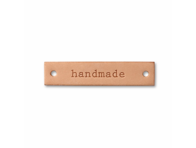 "Label ""handmade"", leather natural, rectangular фото 2"