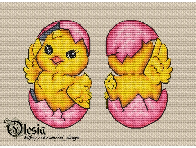 Toy Easter Chick Cross Stitch Pattern фото 1