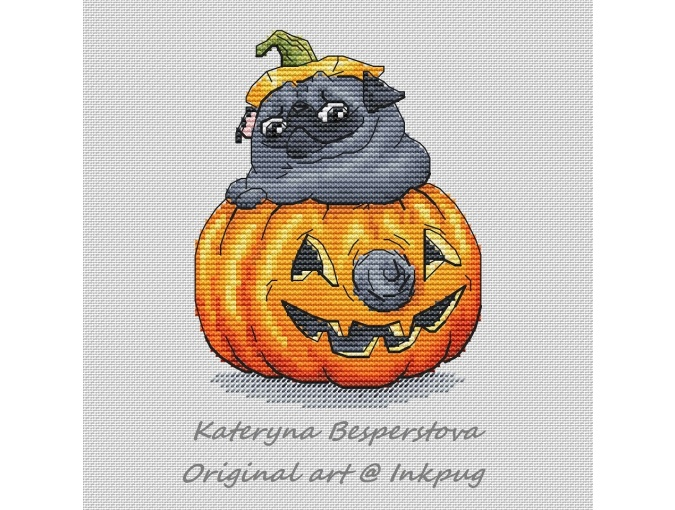Pumpkin Pug Black Cross Stitch Pattern фото 1