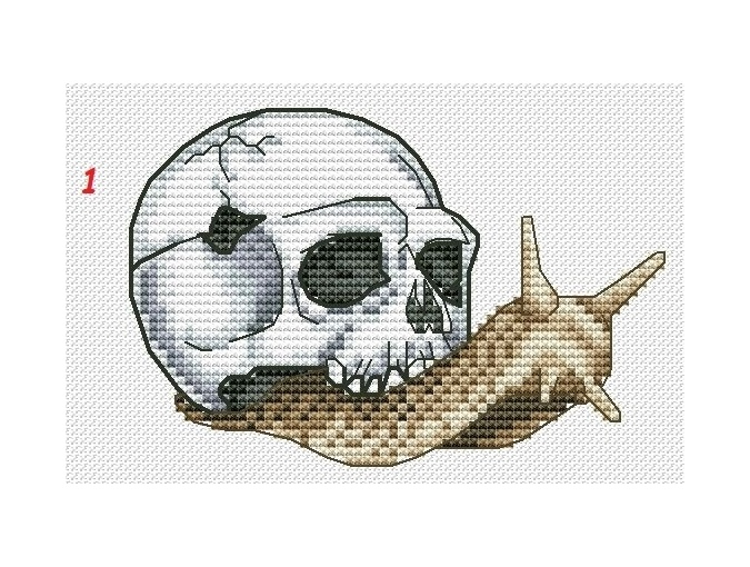 Snail with Skull 1 Cross Stitch Pattern фото 1