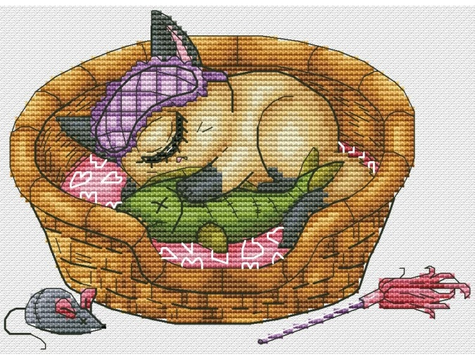 Cat Cyclop Sleeping Cross Stitch Pattern фото 1