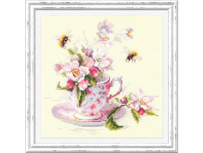 Cup and Apple Blossom Cross Stitch Kit фото 1