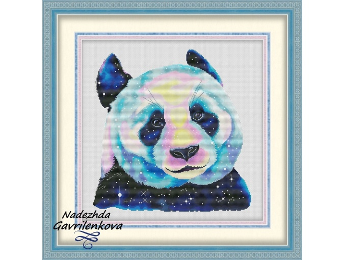 Space Panda Cross Stitch Pattern фото 1
