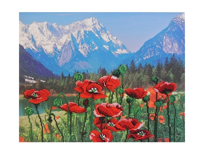Poppies and Mountains Bead Embroidery Kit фото 1