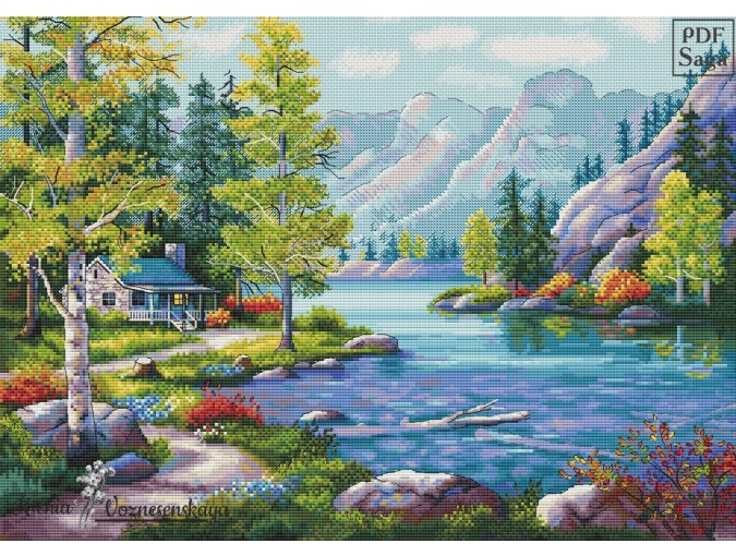 Mountain Idyll Cross Stitch Pattern фото 1