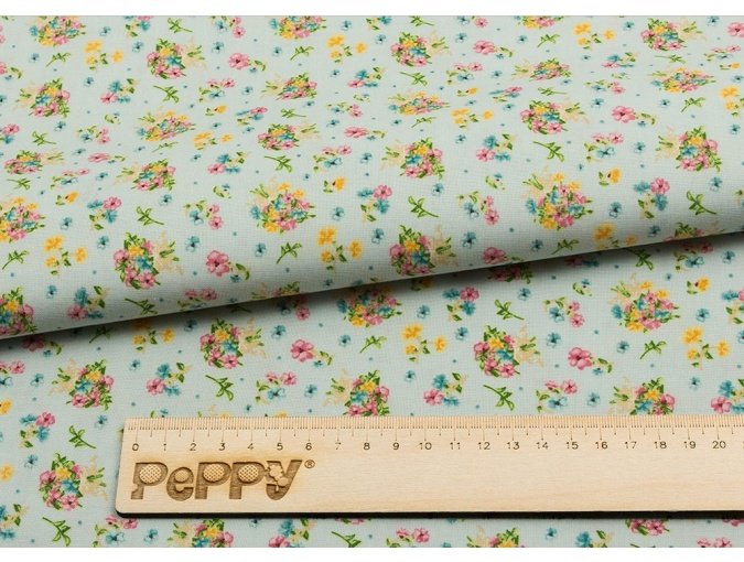 Fat Quarter Peppy, print Light Blue with Flowers фото 2
