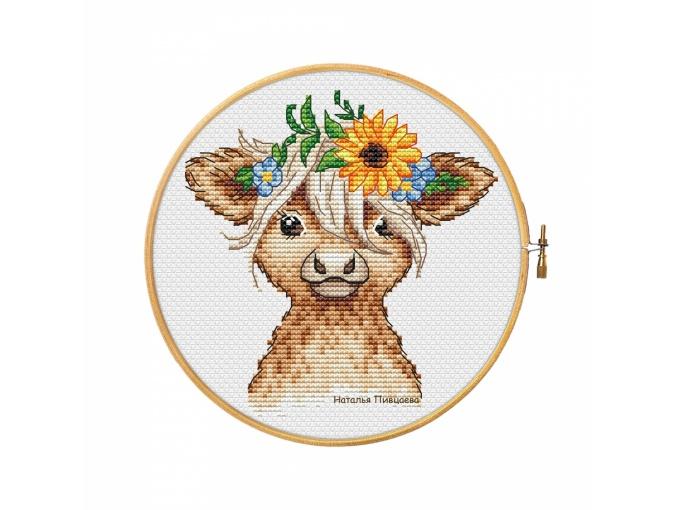 Calf With Bouquet Cross Stitch Pattern фото 1