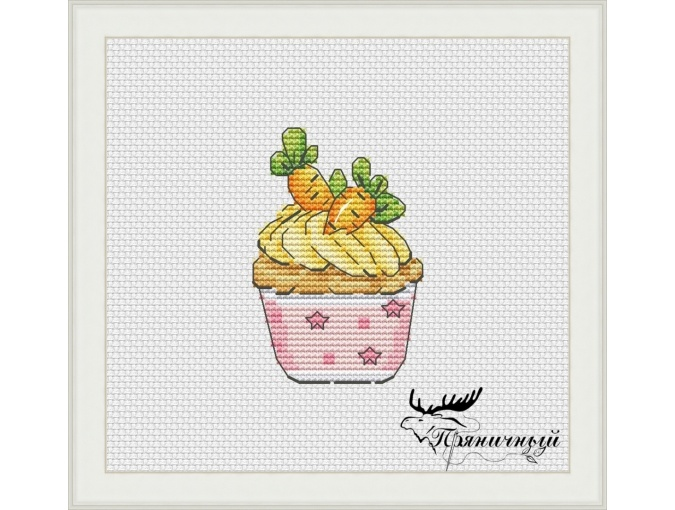 Carrot Cupcake Cross Stitch Pattern фото 1