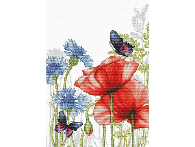 Poppies and Butterflies Cross Stitch Kit фото 1