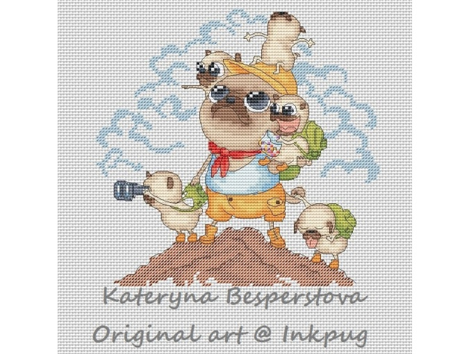 Pugs. Camping Trip Cross Stitch Pattern фото 1