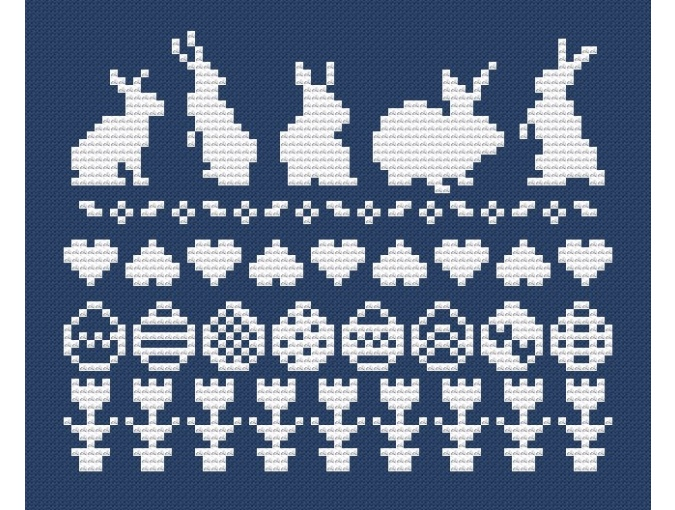 Easter Bunnies and Eggs Cross Stitch Pattern фото 2