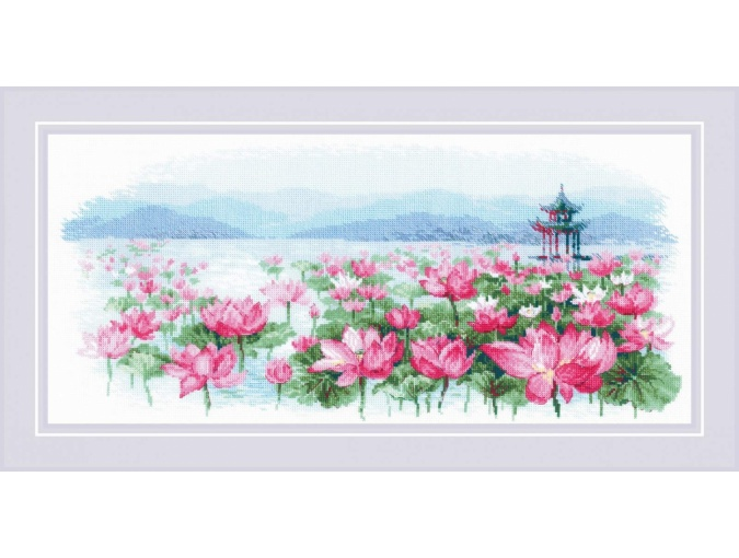 Lotus Field. Pagoda on the Water Cross Stitch Kit фото 1
