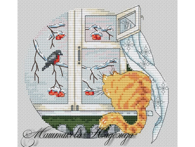 Cat on the Windowsill Cross Stitch Pattern фото 1